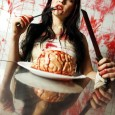 zombie eating brain - brain on plate - dinner table