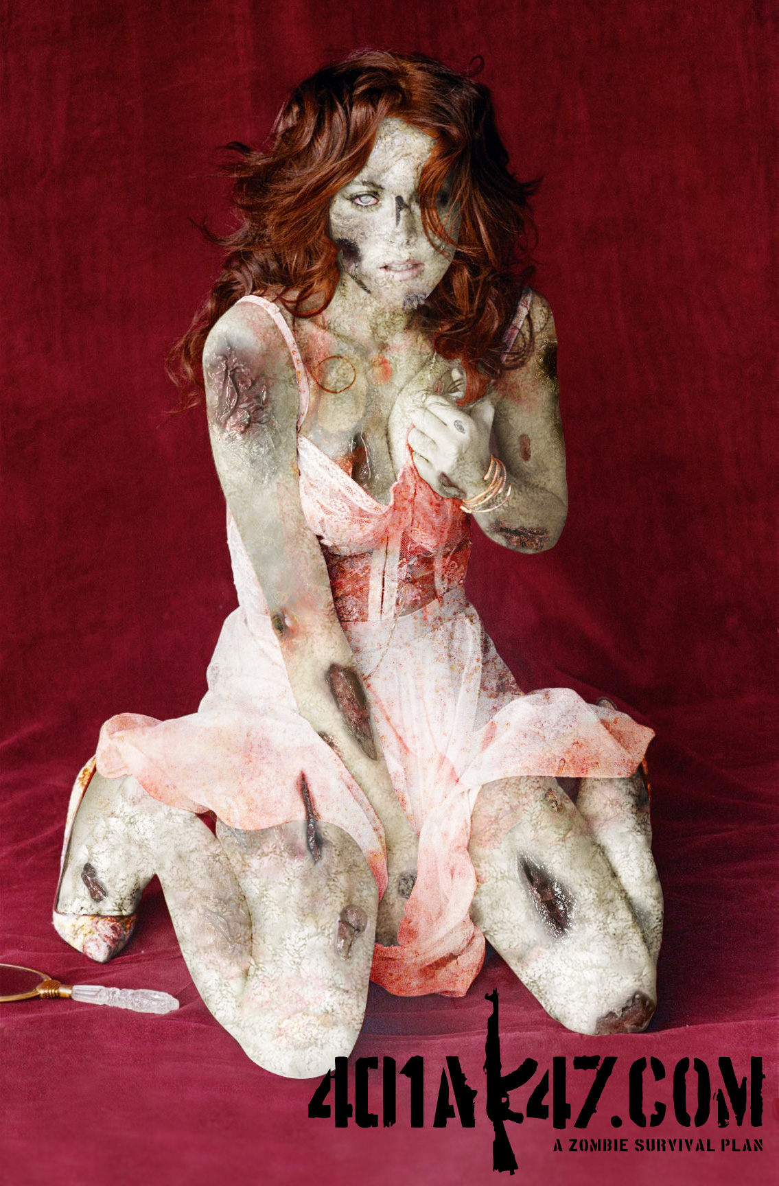 Lindsay Lohan Zombie Pinup sexy hot babe pic - celebrity zombie pin up girl - zombie art