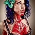 sexy zombie pinup girl purple hair