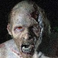 Zombie decaying at night in dark