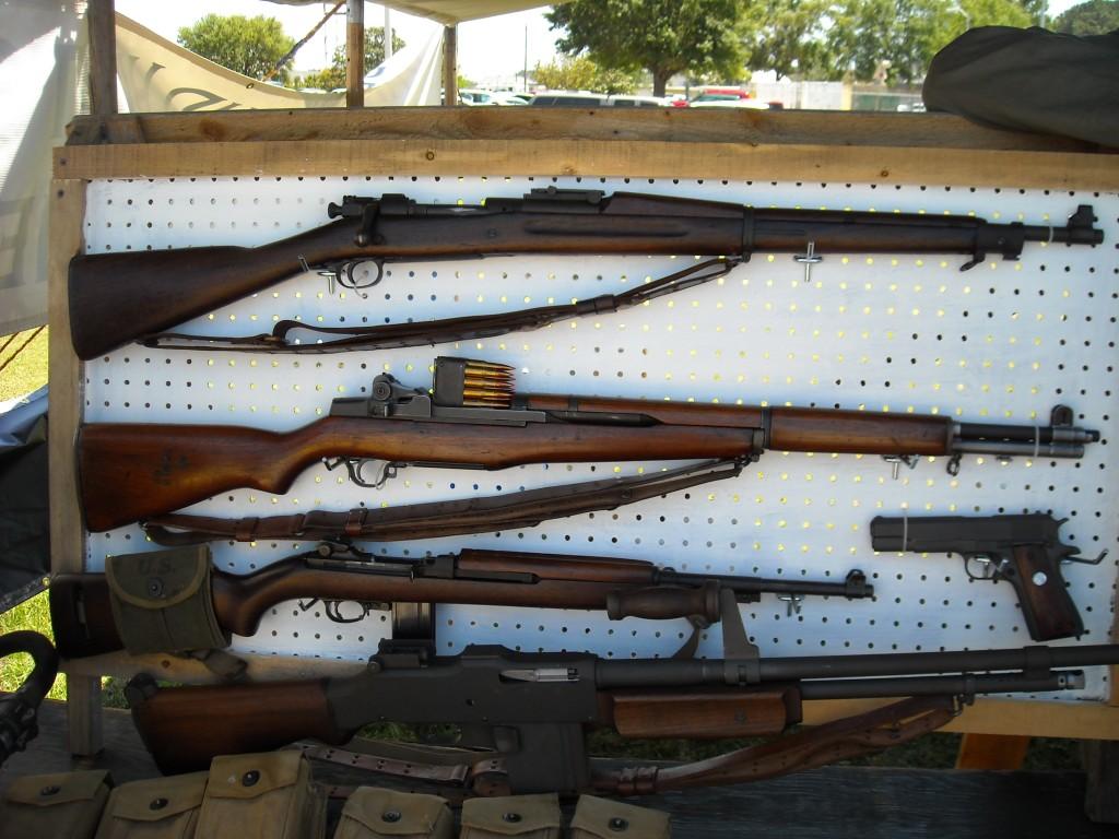 M1903 Springfield, M1 Garand, M1 Carbine, M1918 Browning, M1911