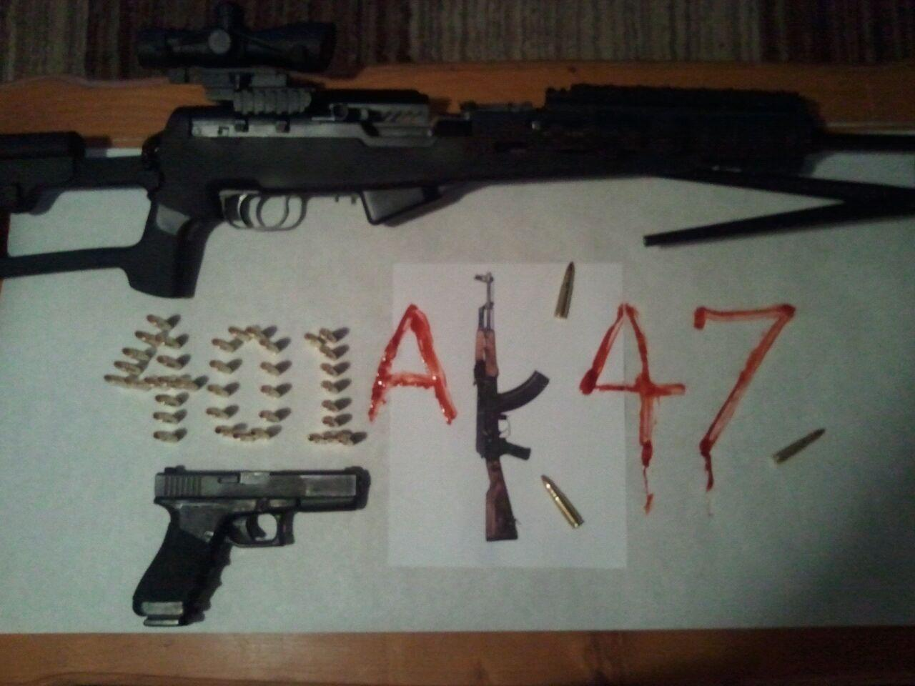 Zombie killing guns making 401ak47 logo in ammo and blood