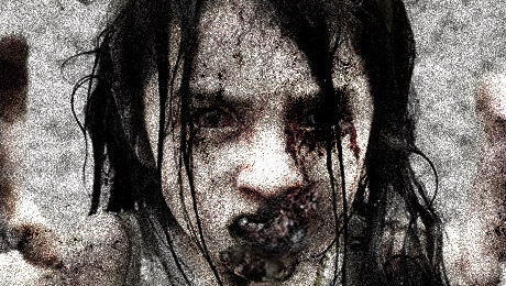 Hungry zombie girl in the zombie apocalypse