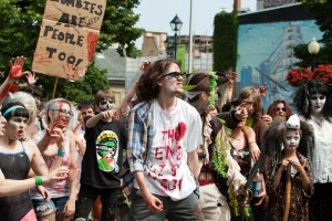 zombies protesting at zombie walk
