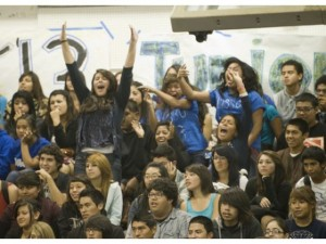 students cheer for zombies