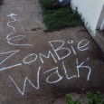 zombie walk this way sign