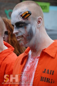 zombie prison inmate at zombie walk