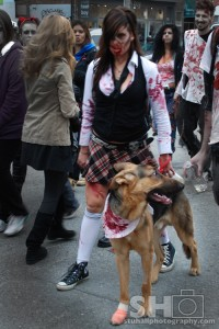 zombie with german shepard dog