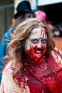 disgusting zombie at zombie walk