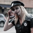 sexy zombie cop at zombie walk