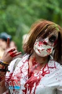 sexy zombie nurse at zombie walk