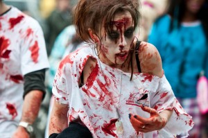 scary zombie girl at zombie walk