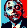Controversial Barrack Obama Zombie with Bullet Hole To Head