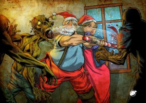 Santa slaying zombies - zombie slaying Santa