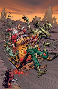 zombie carried by sled   drunk santa with zombie