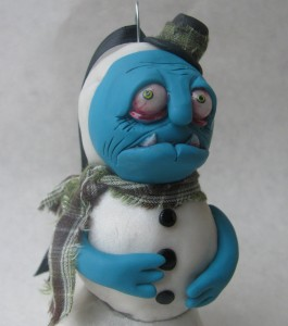 zombie snowman figurine closeup