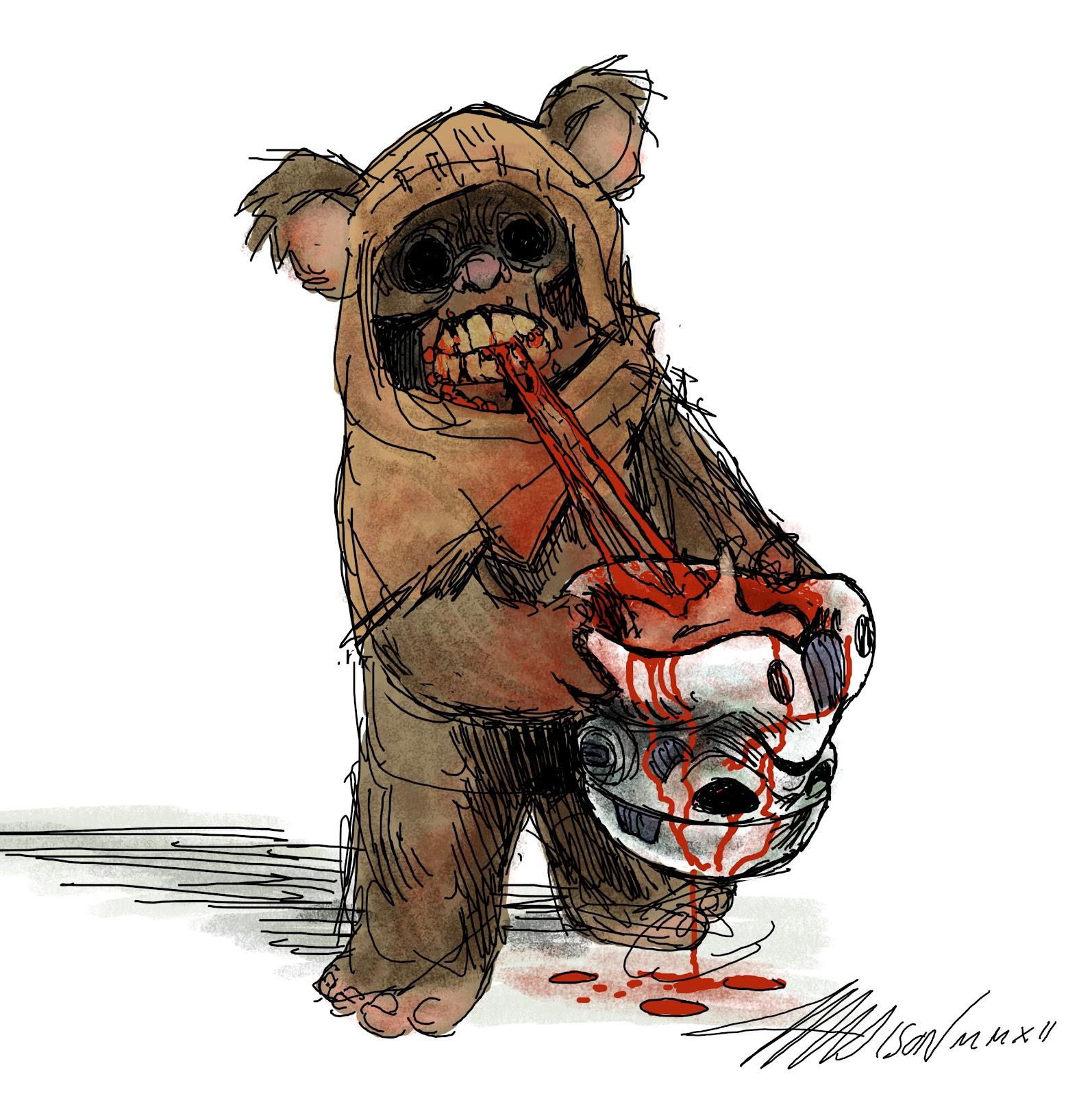 star wars ewok zombie art