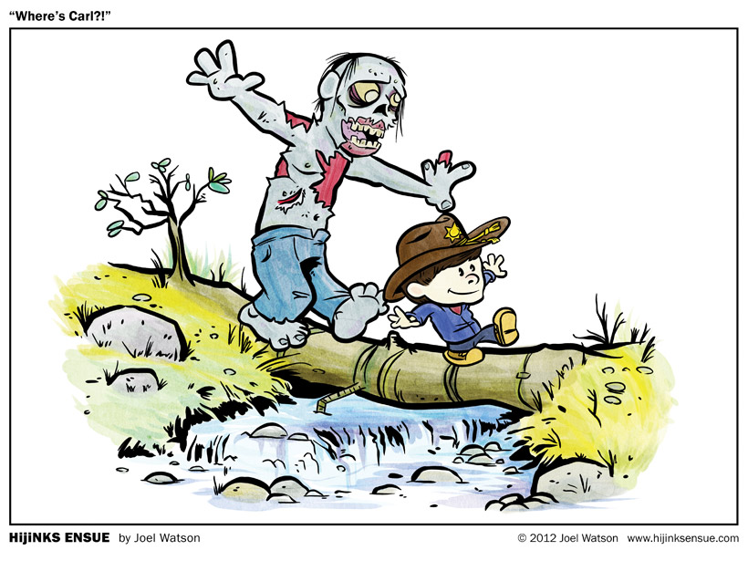 The Walking Dead Calvin and Hobbes inspired cartoon art - Where's Carl?