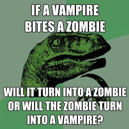 what happens if a vampire bites a zombie?