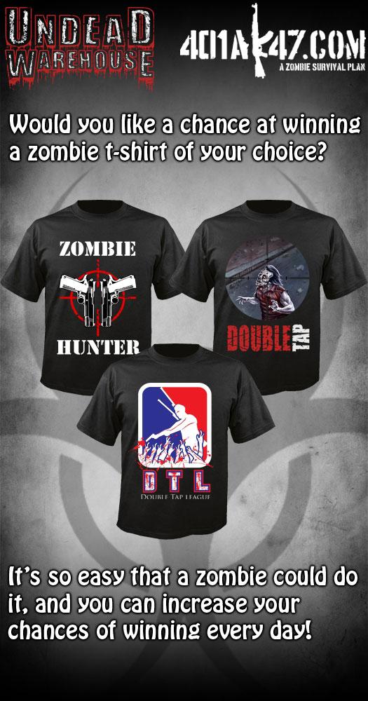 zombie tee giveaway - win zombie merchandise