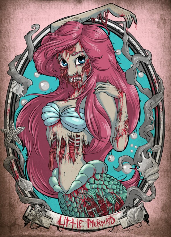 Ariel Disney Princess Zombie | Zombie Ariel Illustration