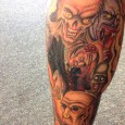 Zombies, Ghouls and Brains on a Zombie Tattoo
