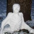 Snowman zombie in graveyard