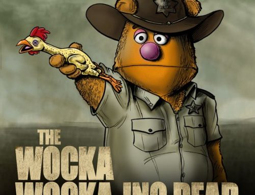 Muppet Character Fozzie Bear as Rick Grimes From The Walking Dead