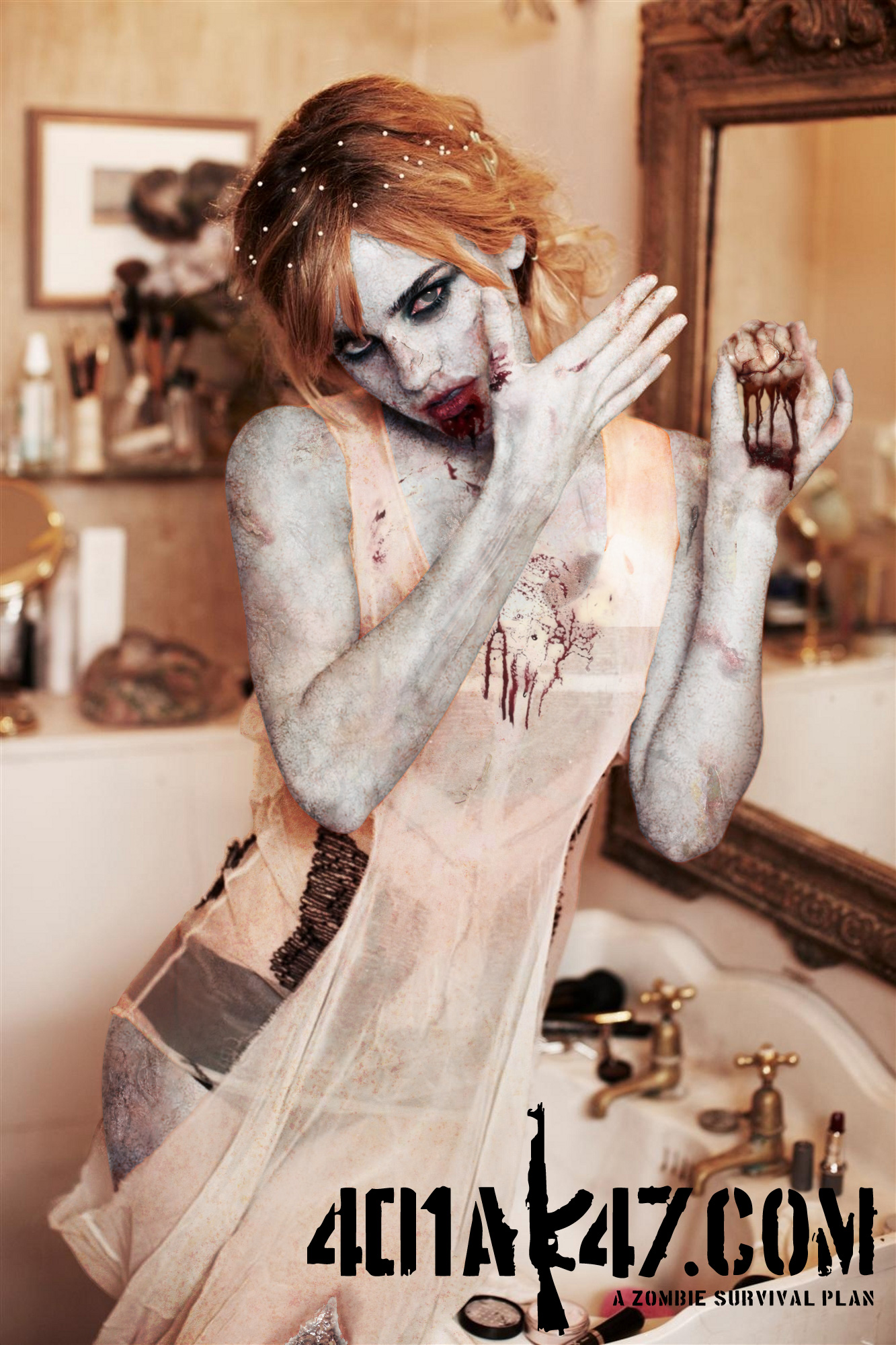 Emma Watson Zombie Pinup sexy hot babe pic - celebrity zombie pin up girl - zombie art