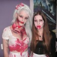hot blonde and brunette zombie girls halloween makeup