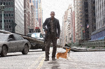 I Am Legend On Street With Corgi Dog - Dog Zombie Survival