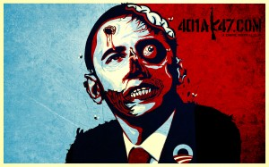 zombie barrack obama wallpaper - zombie obama bullet to head wallpaper
