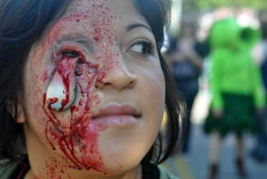 zombie eye falling out makeup at zombie walk