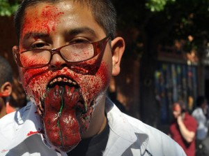 jawless zombie no jaw blown out at zombie walk