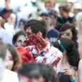 zombie in zombie horde at zombie walk