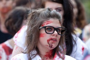 zombie nerd geek at zombie walk