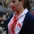 zombie girl bloody at zombie walk
