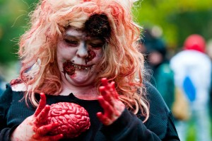 fat zombie eating brains