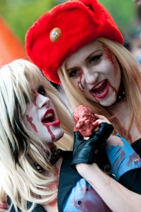 sexy blondes at zombie walk