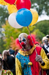 scary zombie clown at zombie walk