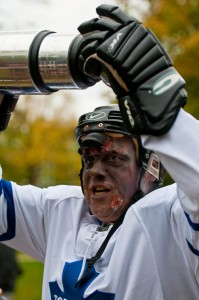 zombie walk zombie hockey player