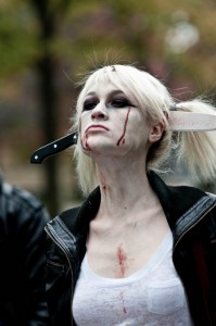 zombie girl with kukri in head