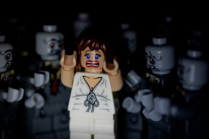 lego zombies surrounding girl