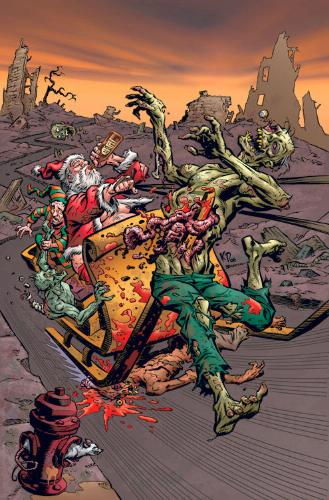 zombie carried by sled | drunk santa with zombie