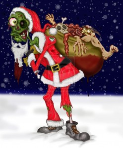 zombie santa with body part presents