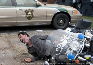 The Walking Dead Rick trapped under motorcycle in town