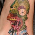 Homer Simpson Drooling Zombie Tattoo
