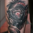 Zombie in Gas Mask Tattoo
