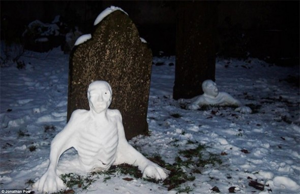 Zombie snowmen rising from graves